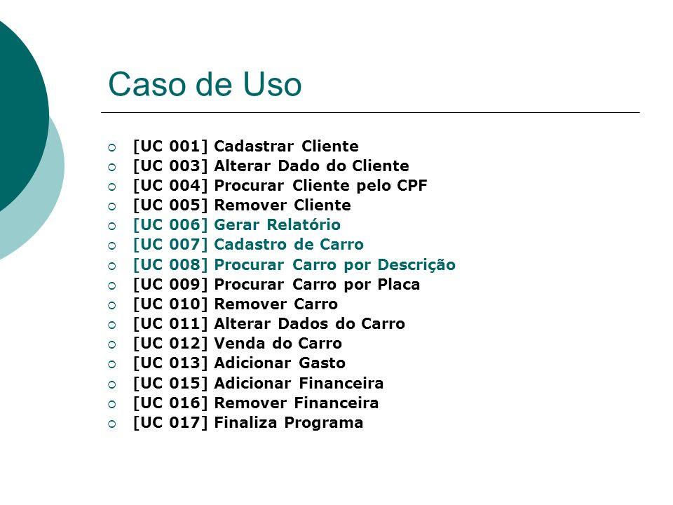 Caso de Uso [UC 001] Cadastrar Cliente